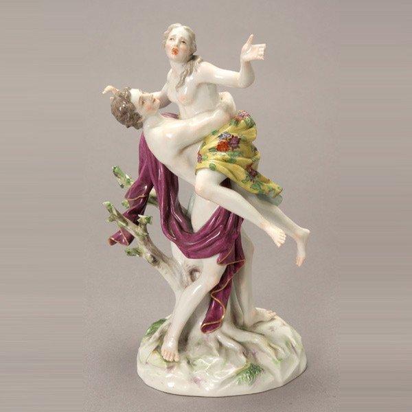 1073: Meissen Porcelain Figural Group: Boreas & Oreithy