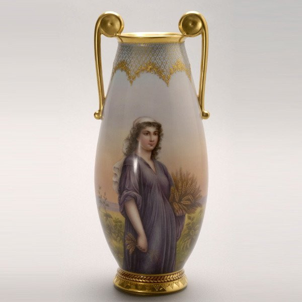 1075: Royal Vienna Urn Featuring Ruth in the Cornfield