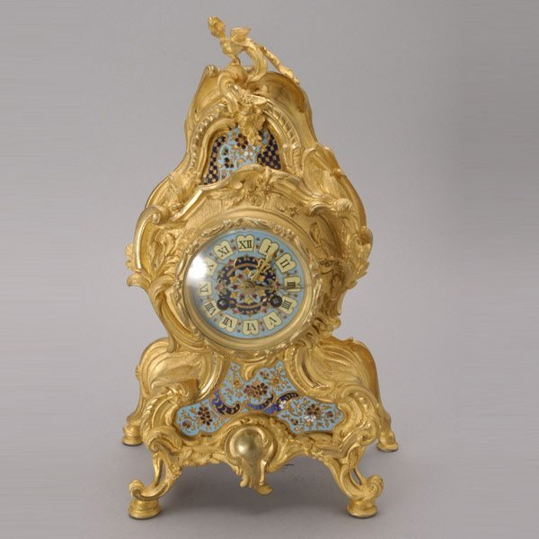 1082: French Gilt Bronze Champleve Enamel Cartel Clock