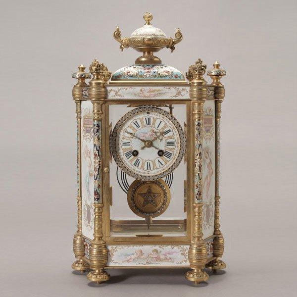 1084: French Champleve Enamel Gilt Bronze Mantle Clock