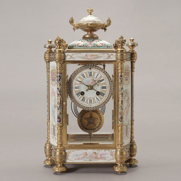 1084: French Champleve Enamel Gilt Bronze Mantle Clock