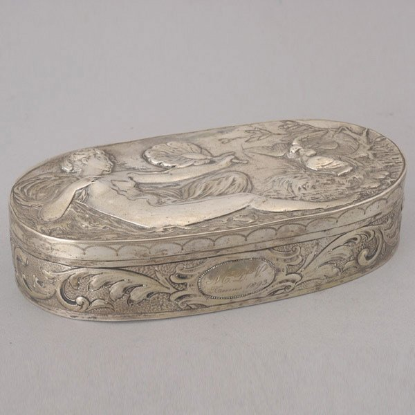 1088: Continental Repousse Silver Box with Venus