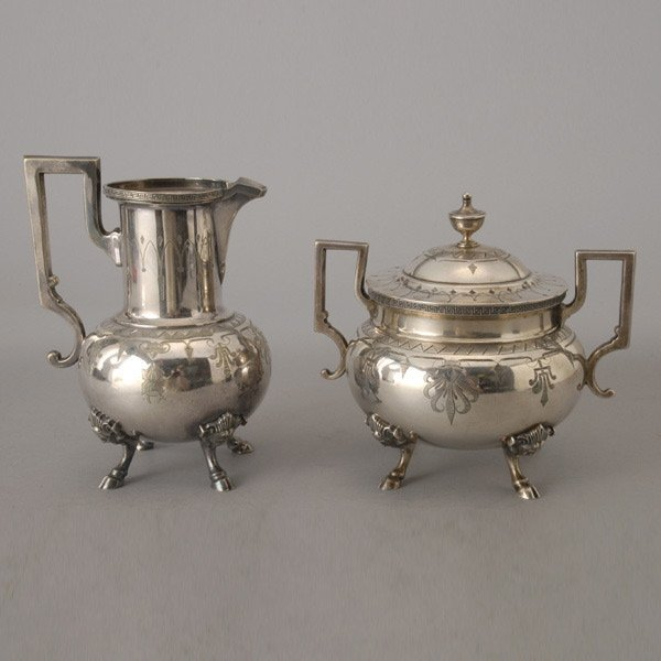1094: Aesthetic Tiffany & Co. Sterling Creamer and Suga