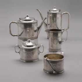 Art Deco Sterling Five Piece Tea And Coffee Set