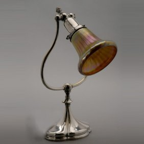 Tiffany Studios Silvered Bronze Desk Lamp W/ Shad