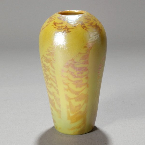 1143: Tiffany Kew Blas vase with gold decoration