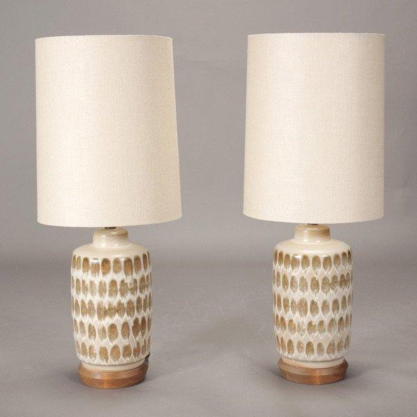 Modern Ceramic Table Lamps: 1276: Pair of Danish Modern Ceramic Table Lamps,Lighting