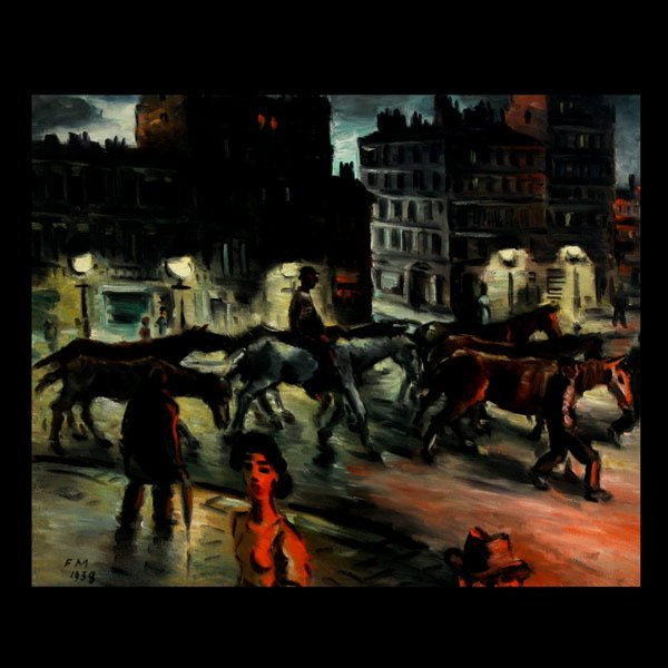 """2014: FRANS MASEREEL """"Night Rider"""" Oil on canvas"""