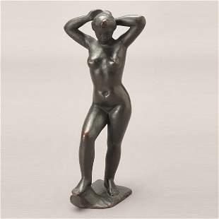 2120: ARISTIDE MAILLOL Baigneuse aux Bras Leves, Bronze