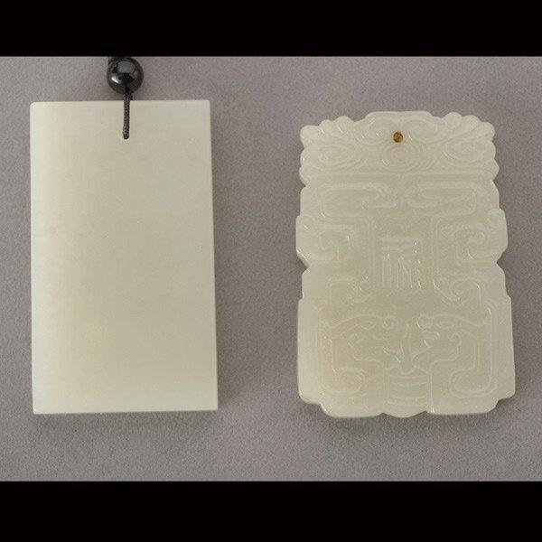 8009: Two Rectangular Jade Pendants