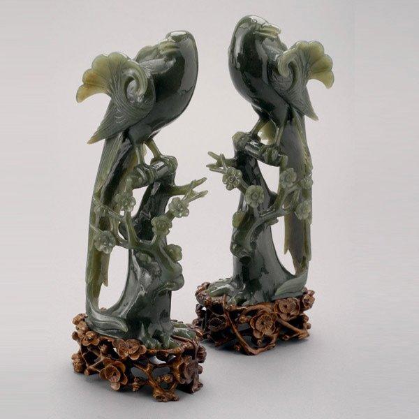 8024: A Pair of Spinach Jade Birds
