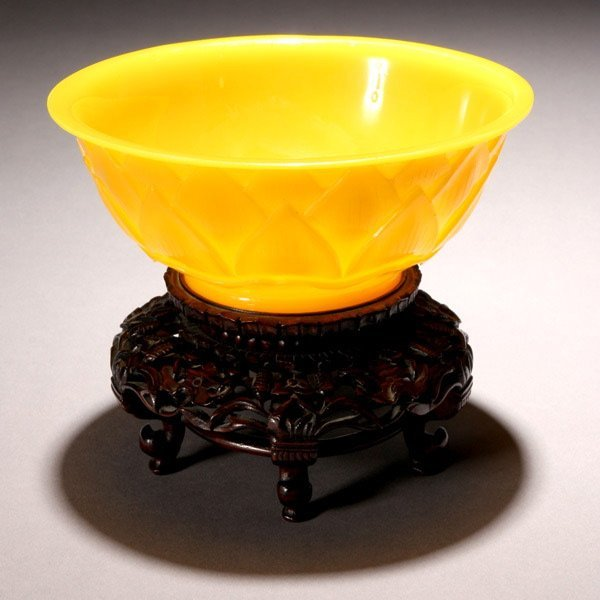 8076: An Imperial Yellow 'Lotus Flower' Glass Bowl