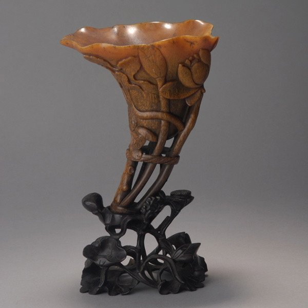 8096: A Fine Rhinoceros Horn 'Lotus' Libation Cup*