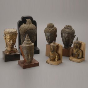 A Group Of Seven Thai Bronze Buddha Heads