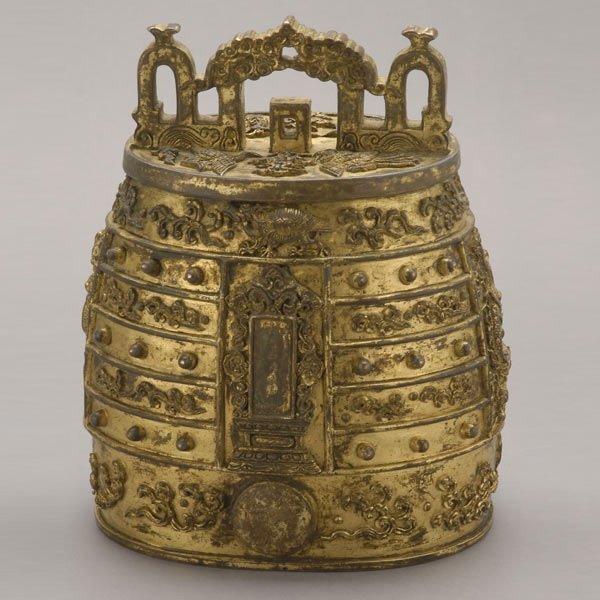 8136: A Rare Gilt-Bronze Archaistic Ritual Bell, Qianlo