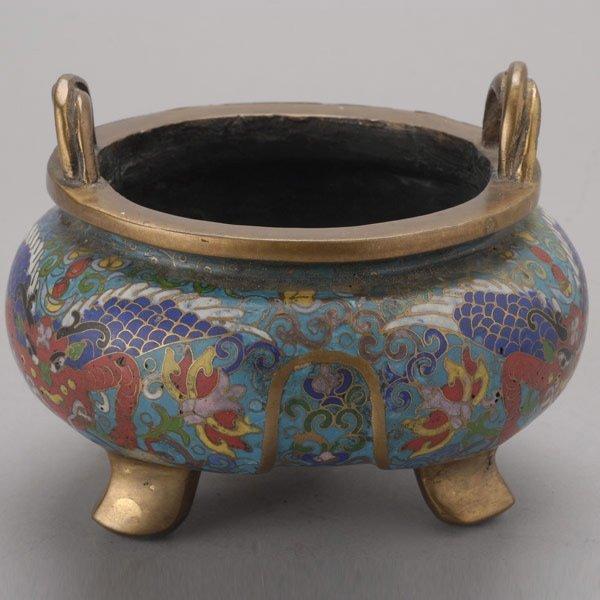 8137: A Cloisonné-Enameled Tripod Censer, Late Qing