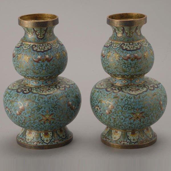 8141: Two Cloisonné-Enameled Double Gourd Vases