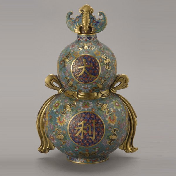 8142: A Cloisonné-Enameled Double Gourd Vase and Cover