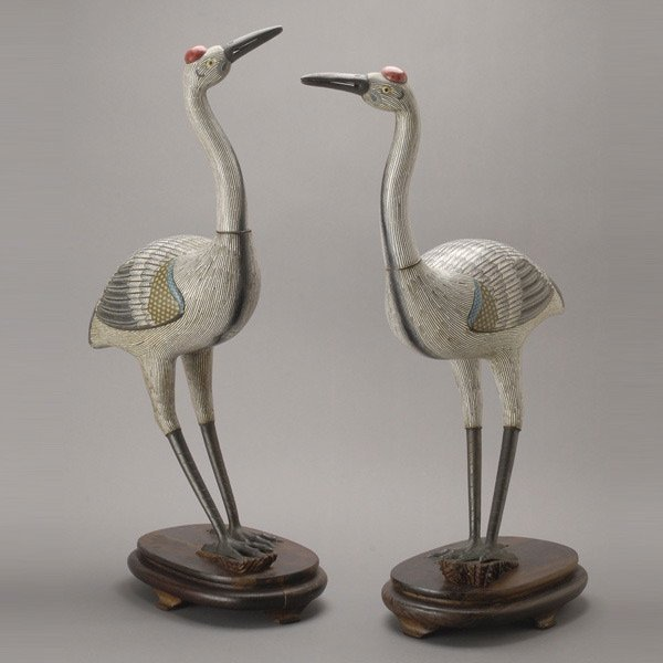 8145: A Pair of Cloisonné-Enameled Cranes, Late Qing