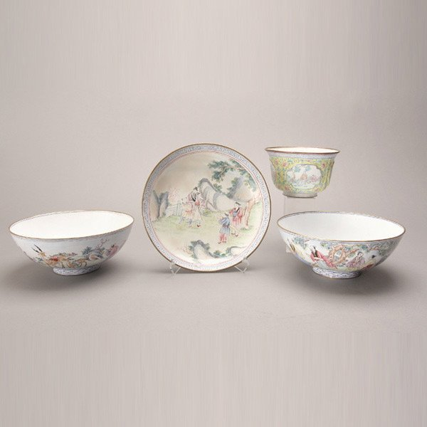 8149: Four Canton Enamel-Painted Vessels, 18th/19th C