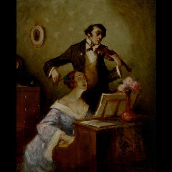 "15: Style of GEZA UDVARY    ""Duet""   Oil in canvas."