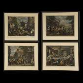 44 Set of Four William Hogarth Hand Colored Prints