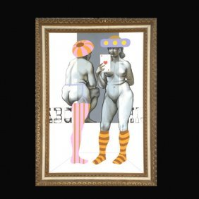 "Arne Besser ""Two Ladies"" Oil And Ink"