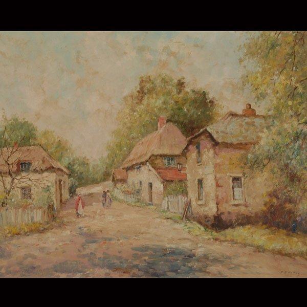 """77: FRANCES H. MCKAY  """"Maine Cottages""""  Oil on canvas"""