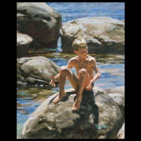 TOM HUGHES, Boy At The Lake, American Art