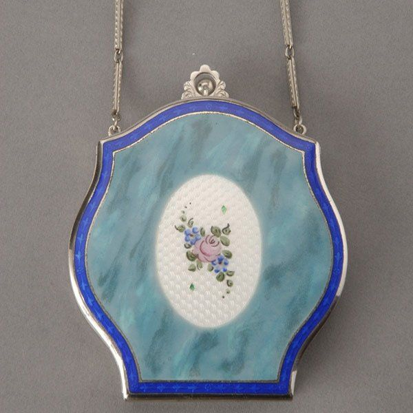 387: Art Deco Silver Enameled Compact with Chain