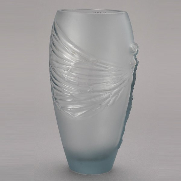 416: Lalique France Libellule Frosted Glass Vase