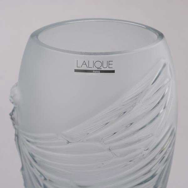 416: Lalique France Libellule Frosted Glass Vase - 2