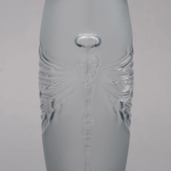 416: Lalique France Libellule Frosted Glass Vase - 3