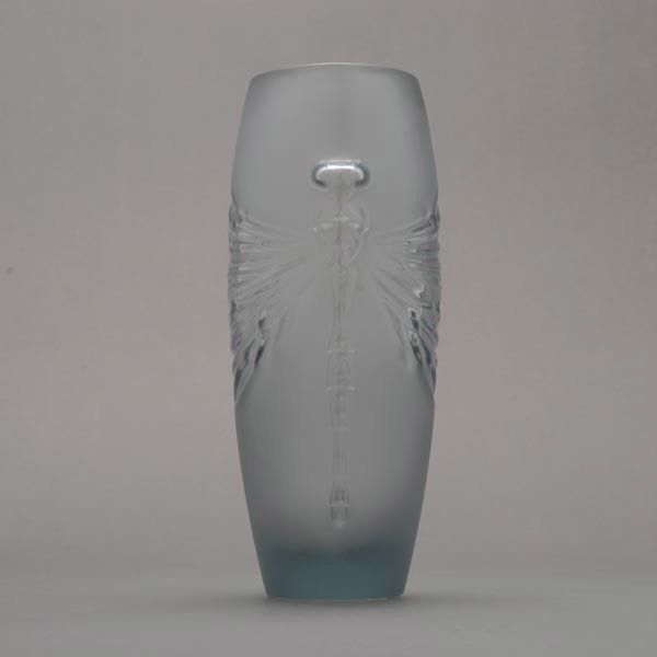 416: Lalique France Libellule Frosted Glass Vase - 9