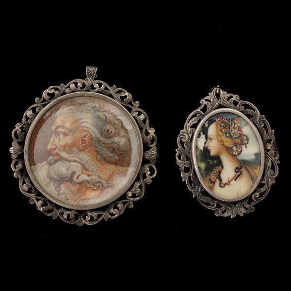3007: COLLECTION OF TWO PAINTED SILVER PENDANT-BROOCHES