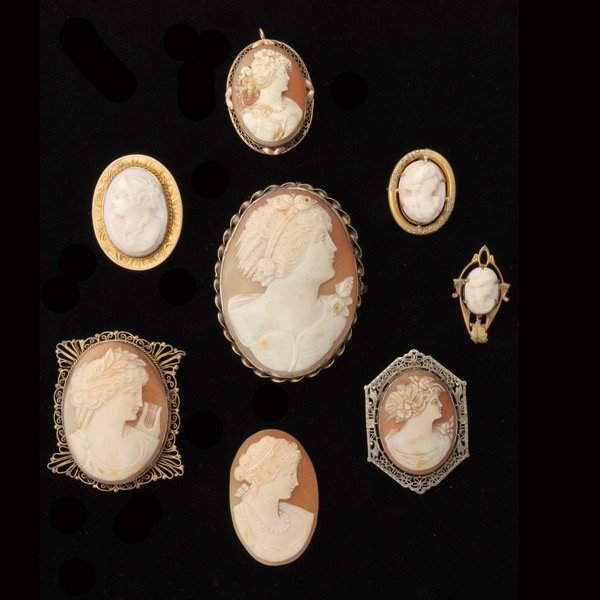3018: 8 SHELL CAMEO, 10K, 9K, G/F, METAL JEWELRY ITEMS.