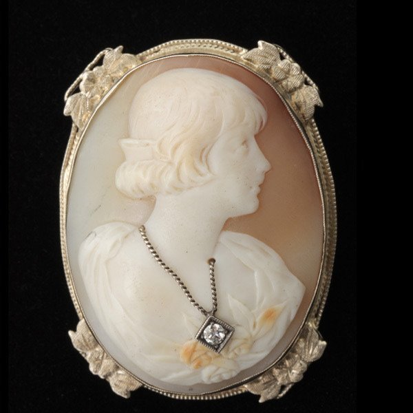 3019: DIAMOND, SHELL CAMEO, 14K WHITE GOLD BROOCH.