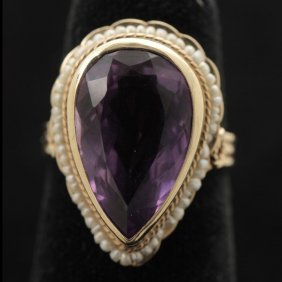 AMETHYST, SEED PEARL, 14K YELLOW GOLD RING.