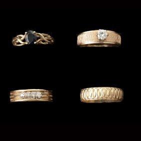 4 DIAMOND, SAPPHIRE, 14K YELLOW GOLD RINGS.