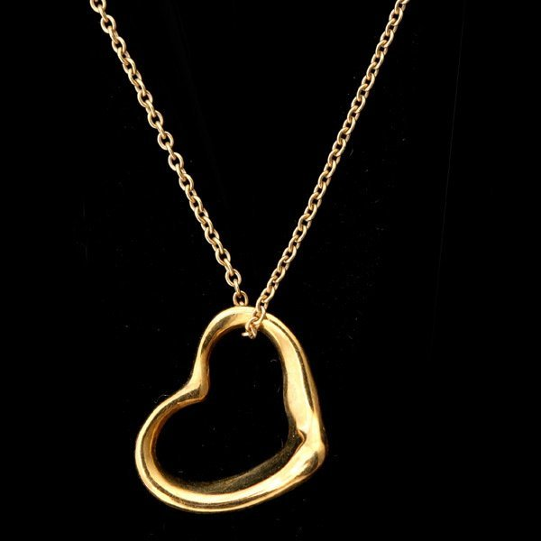 3122: T & CO. ELSA PERETTI 18K Y/G HEART PEND-NECKLACE.