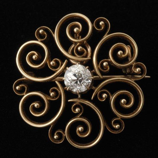 3123: DIAMOND, 14K YELLOW GOLD PENDANT-BROOCH.