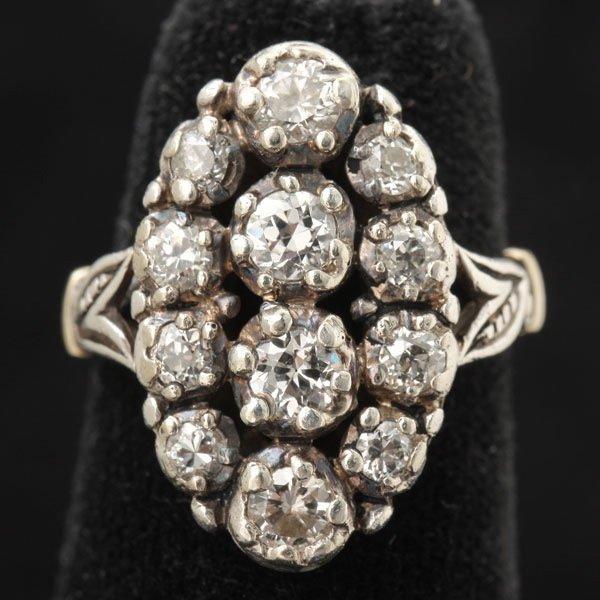 3126: DIAMOND, SILVER, 14K YELLOW GOLD RING.