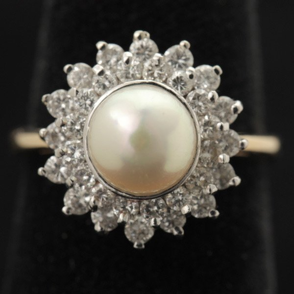 3127: CULTURED PEARL, DIAMOND, 14K GOLD RING.