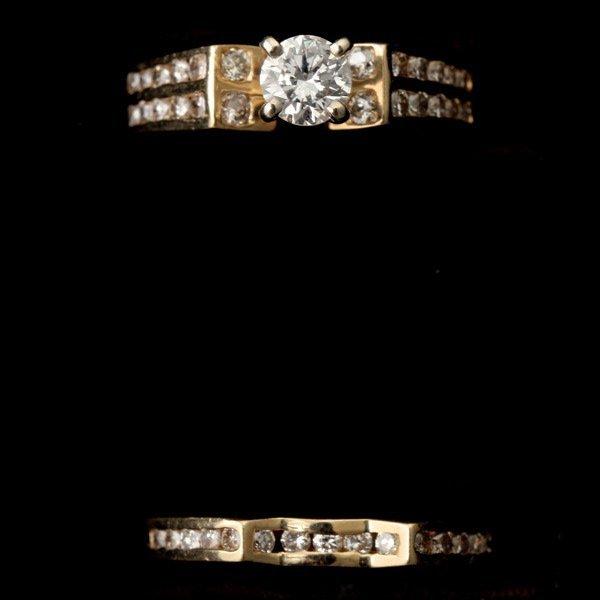 3129: DIAMOND, 14K YELLOW GOLD WEDDING SET.
