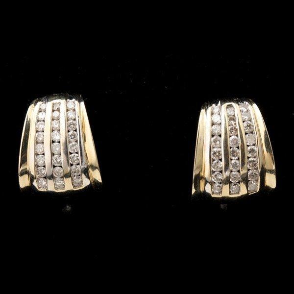 3130: PAIR OF DIAMOND, 14K YELLOW GOLD EARRINGS.
