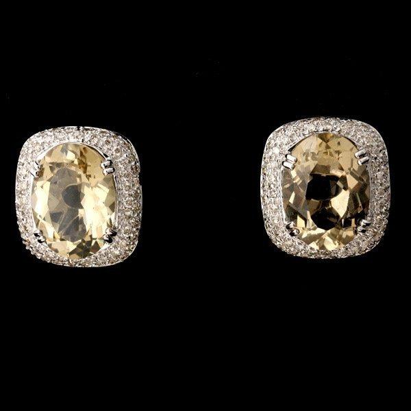 3135: CITRINE, QUARTZ, DIAMOND, 14K WHITE GOLD EAR CLIP