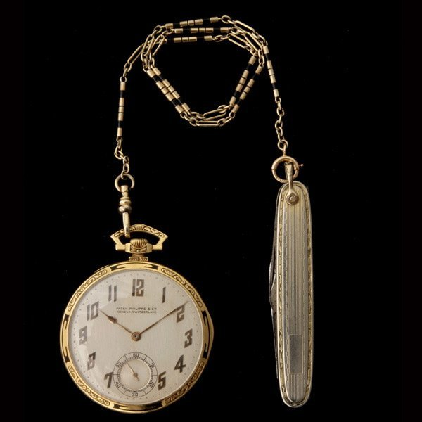 3225: P. PHILIPPE 18K Y/G POCKET WATCH W/ CHAIN & KNIFE
