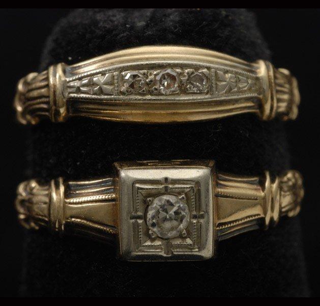 254: DIAMOND, 14K YELLOW GOLD WEDDING RING SET.