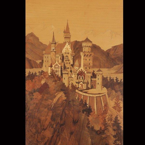 820: German Wood Inlay Plaque of Neuschwanstein Castle