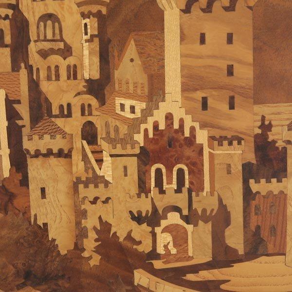 820: German Wood Inlay Plaque of Neuschwanstein Castle - 2